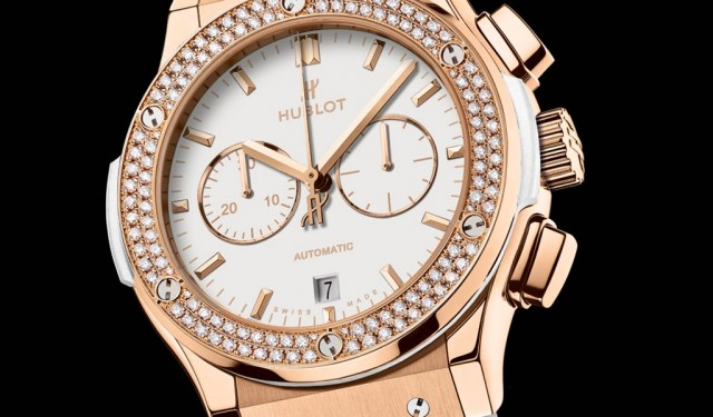 Side of Hublot Classic Fusion King Gold diamonds chronograph