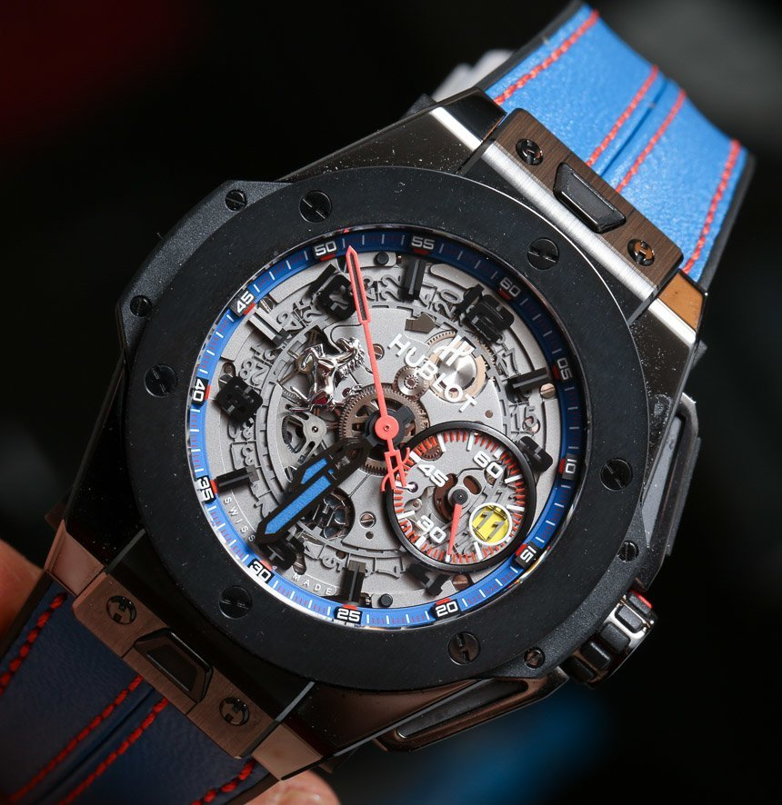 Side of Hublot Big Bang Ferrari tourbillon blue strap watch 02