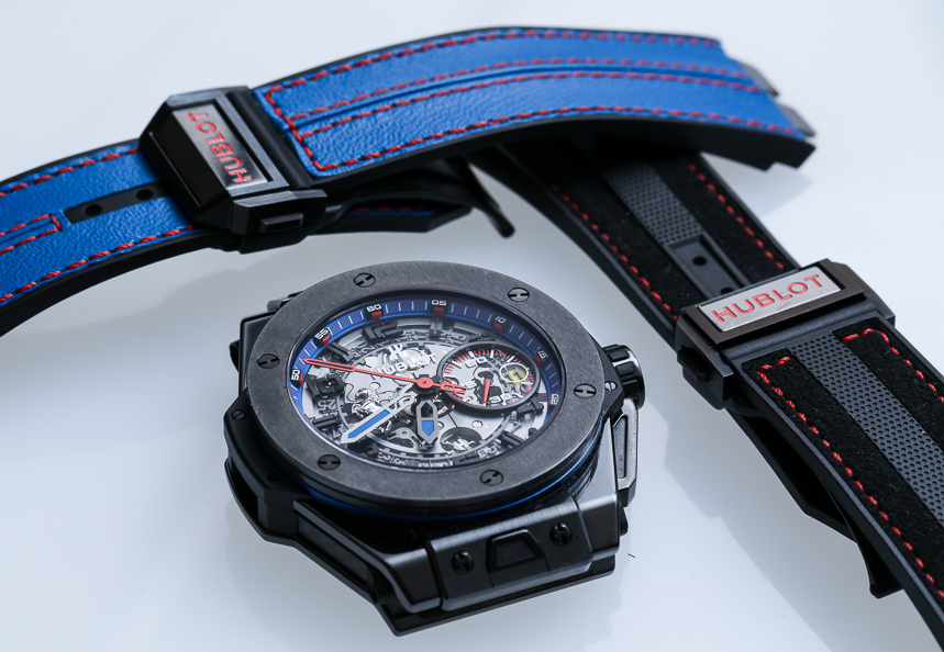 Hublot Big Bang Ferrari tourbillon blue strap watch's dial and strap