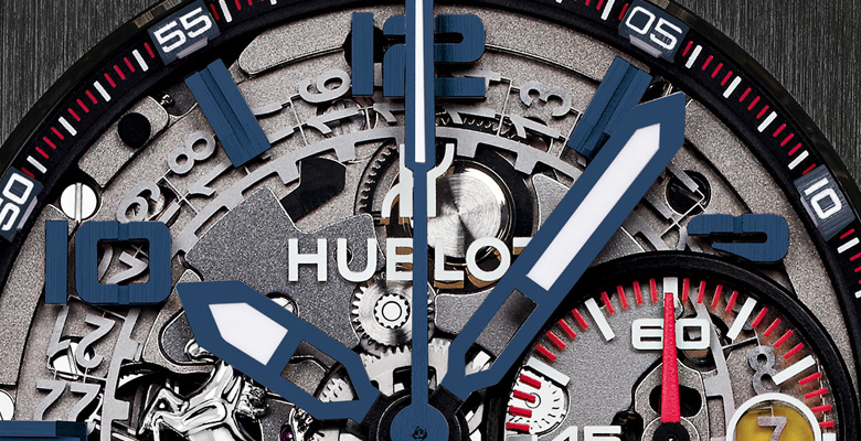 Hublot Big Bang Ferrari Tourbillon blaue Armbanduhr Zifferblatt