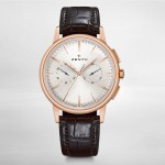 front of Zenith Elite Chronograph rose gold watch